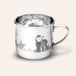 LARGE TRADITIONAL BABY CUP WITH HAND CHASED LAMBS DESIGN
