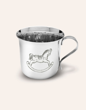 STERLING SILVER FLARE BABY CUP WITH HAND CHASED ROCKING HORSE