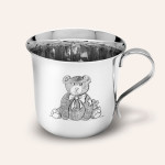 STERLING SILVER FLARE BABY CUP WITH HAND CHASED TEDDY BEAR