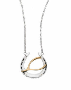 WISHING YOU GOOD LUCK HORSESHOE LARGE PENDANT NECKLACE
